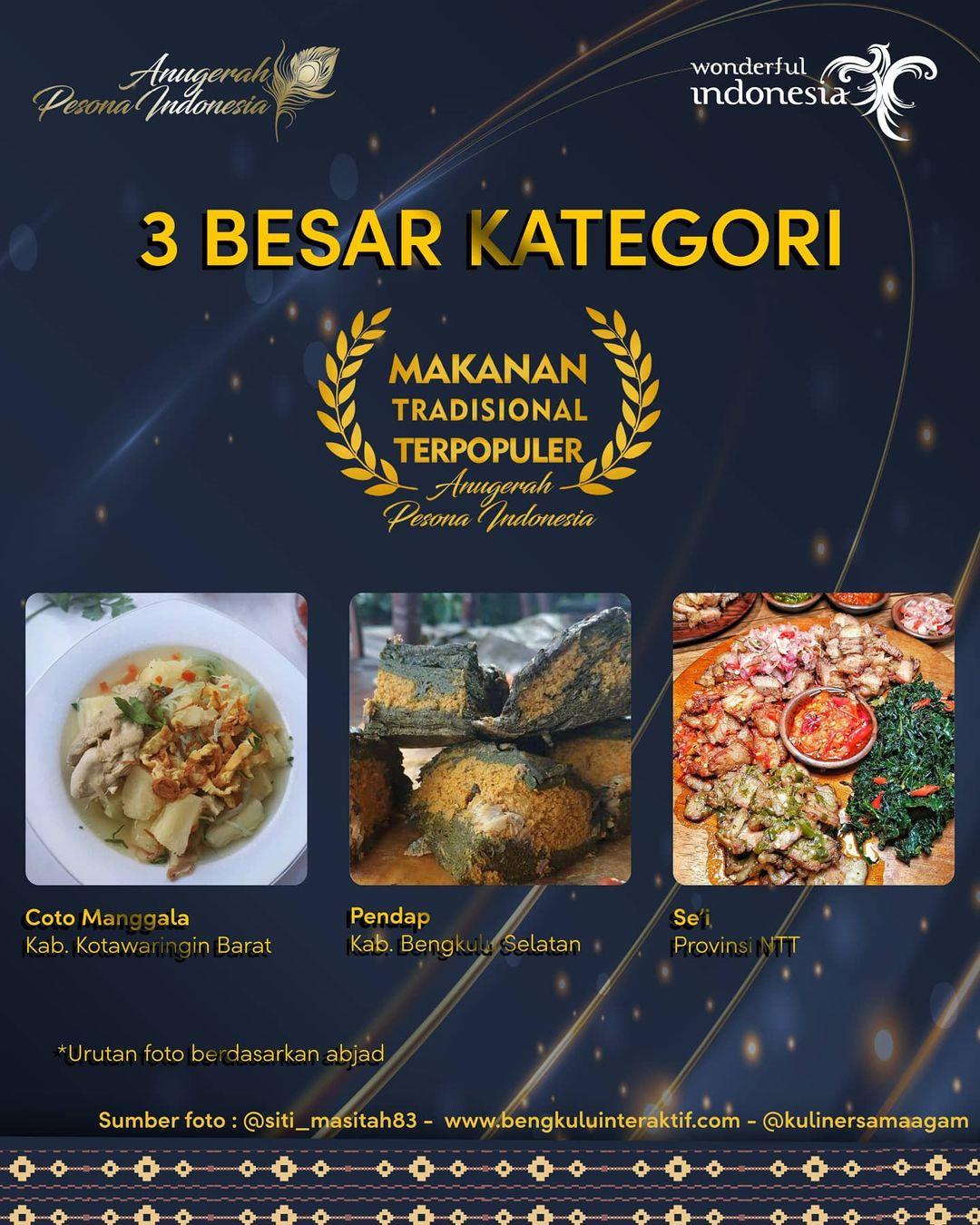 'i Masuk dalam Nominasi Makanan Tradisional Terpuler Anugerah Pesona Indonesia